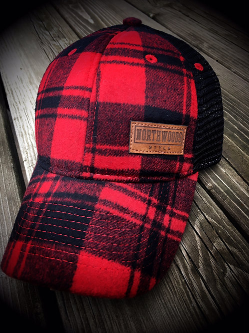 NORTHWOODS STYLE™ Vintage Wool Flannel/Leather Patch Red Plaid