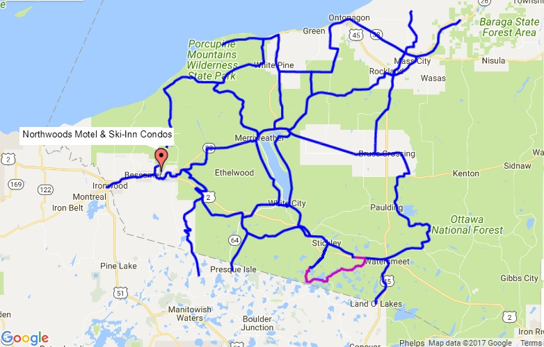 U.P. Snowmobile Trail Map