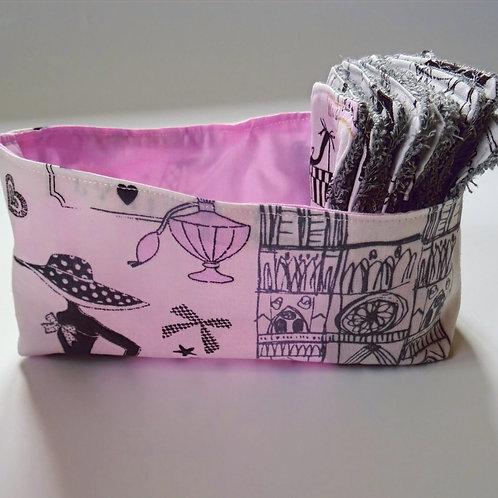 Panière ''la petite parisienne'' et ses 10 lingettes démaquillantes lavables