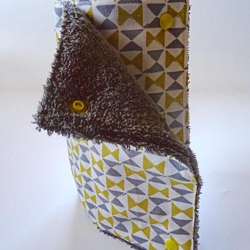 Essuie tout lavable ''jaune et gris'' 10 feuilles avec pressions