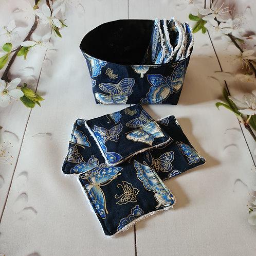 Panière ''papillons'' et ses 10 lingettes démaquillantes lavables