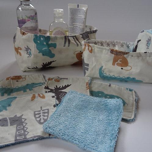 """2 Panières """"animaux du zoo"""" et 10 lingettes lavables"""