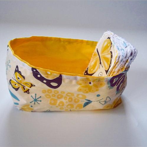 Panière ''papillons'' et ses 8 lingettes démaquillantes lavables