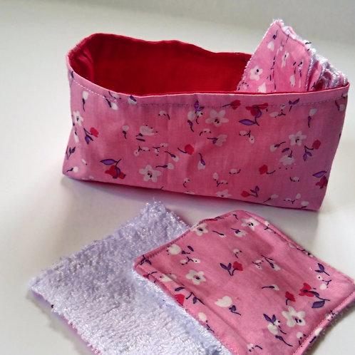 Panière ''liberty rose'' et ses 10 lingettes démaquillantes lavables