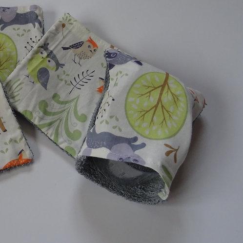 """2 petits gants de toilette enfant """"animaux de la forêt"""""""