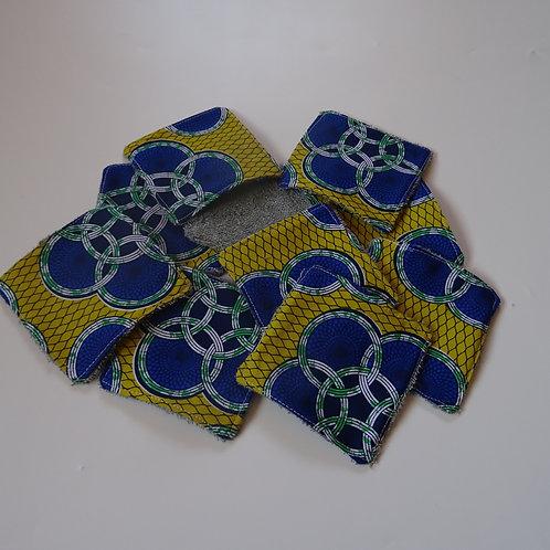 """10 lingettes lavables  ''wax bleu'' ou """"bleu et jaune"""""""
