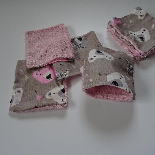 2 petits gants de toilette enfant ours indien fait main