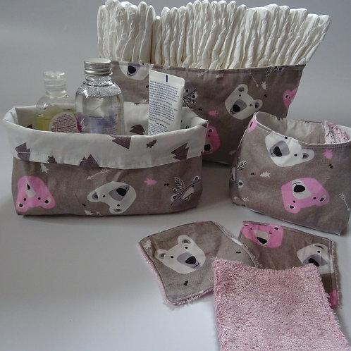 3 panières et ses 10 lingettes lavables ours indien