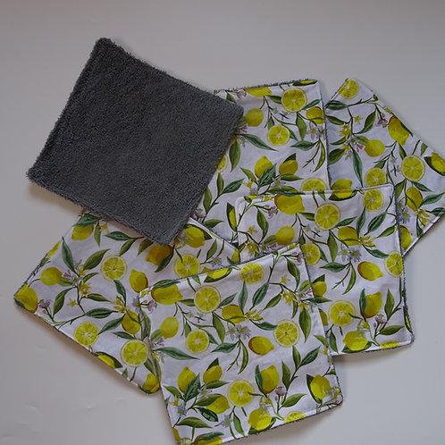 """Essuie tout lavable motifs """"citrons"""" 6 feuilles"""