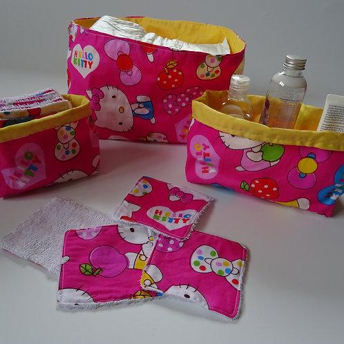 3 panières Hello Kitty et ses 10 lingettes lavables