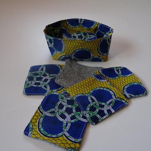 Panière wax jaune et bleu et ses 8 lingettes