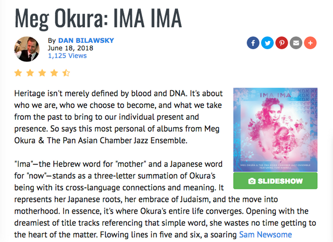 """""""Beyond Words,"""" Writer Dan Bilawsky of All About Jazz Says About IMA IMA!"""
