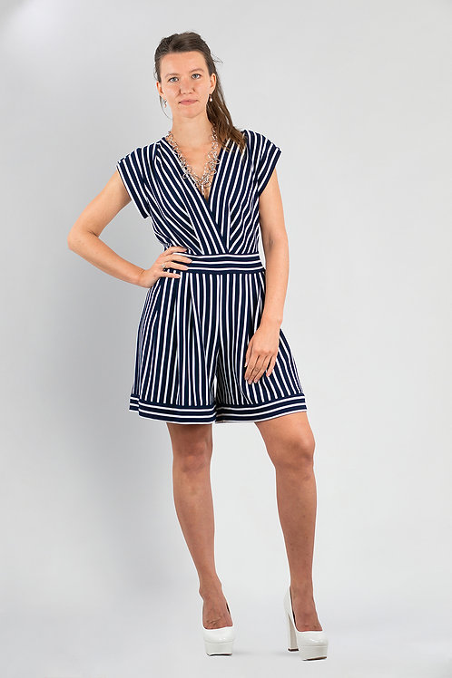 """Overall """"nautical striped jumpsuit"""""""