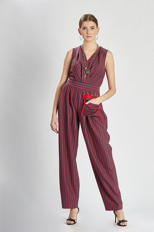 """Overall """"coral essence striped jumpsuit"""""""