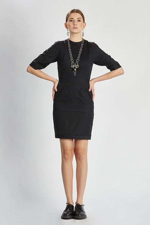 "Kleid ""smart black pinstriped dress"""