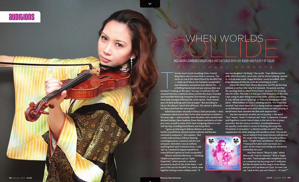 Meg Okura feature on the JAZZIZ magazine SUMMER 2018