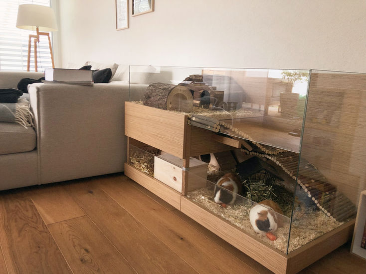 Meerschweinchen Gehege aus Holz in Eiche
