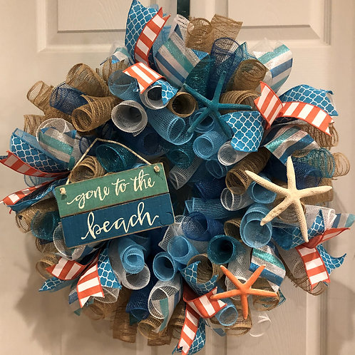 Gone To The Beach Wreath (w/ colorful starfish)
