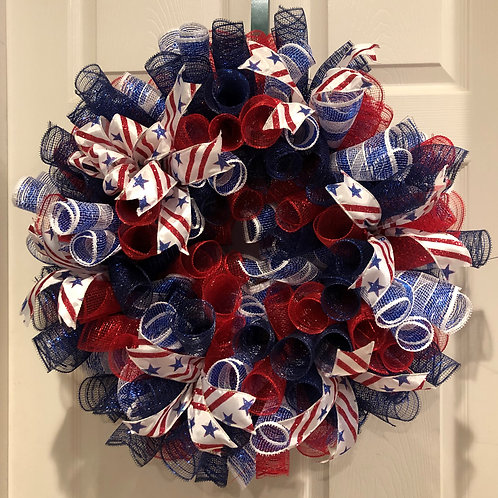 Patriotic Stars and Stripes R/W/B Wreath