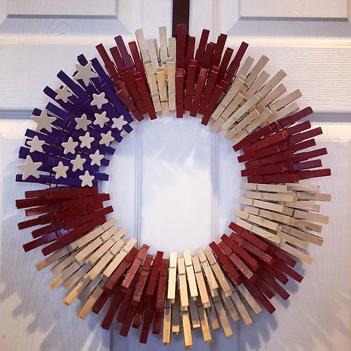 Patriotic Red/White (Natural)/Blue Clothespin Wreath