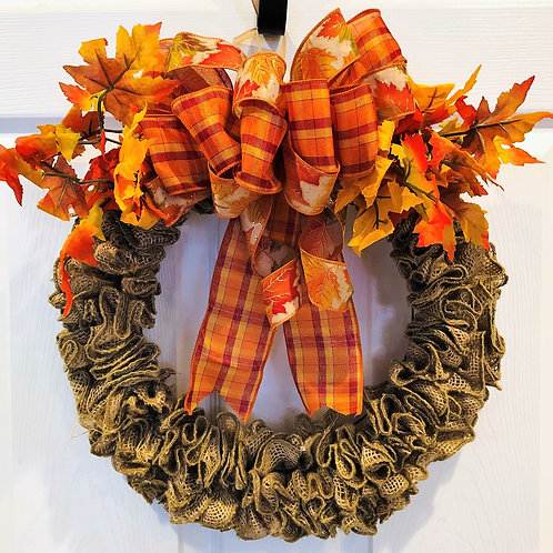 Natural Burlap Fall Leaves Wreath