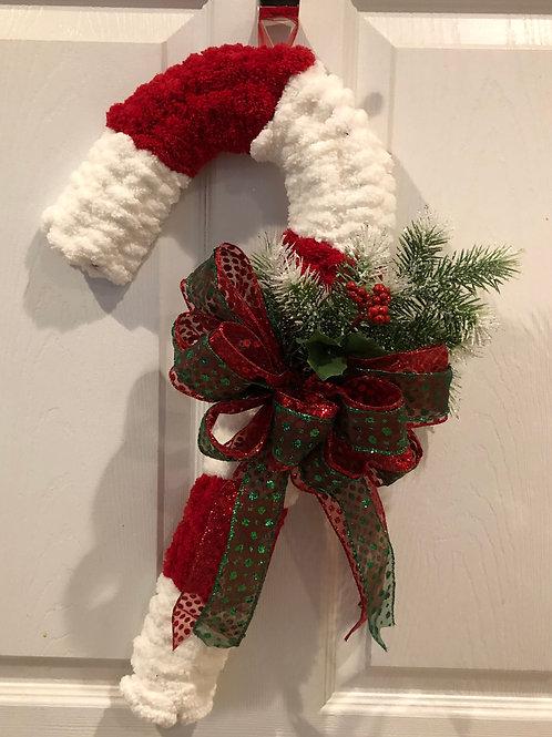 Chunky Bernat Yarn Candy Cane Wreath w/ Red Green Sheer Bow