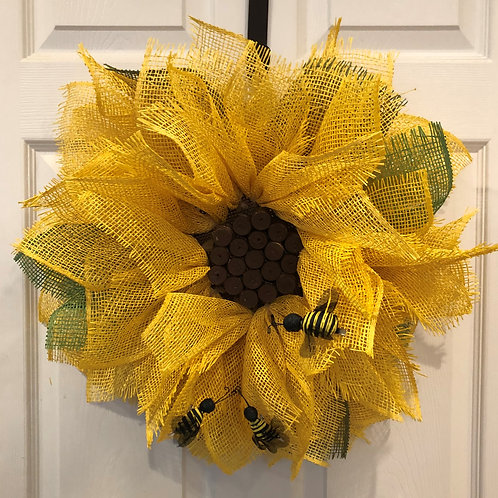Sunflower w/ Bees Wreath