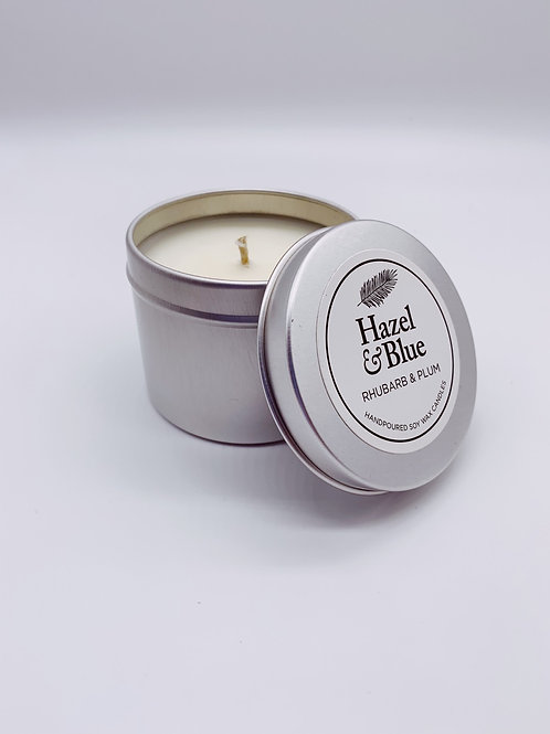 Rhubarb & Plum Soy Wax Scented Tin Candle