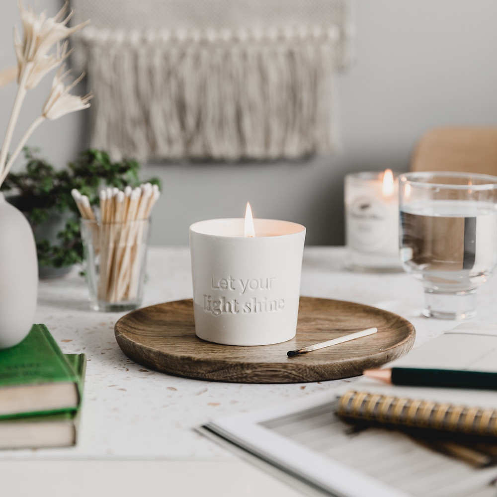 Soy candle, positive message soy candles, porcelain candle