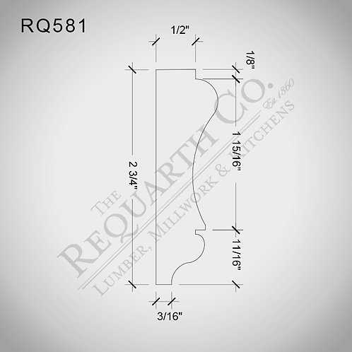 RQ581 Chair Rail 3/4 x 2-3/4