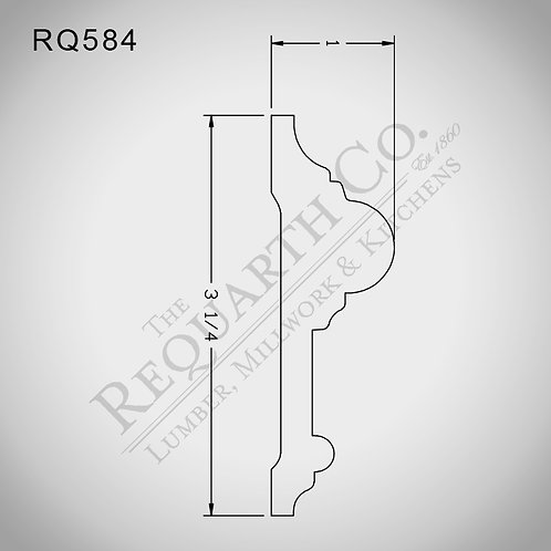 RQ584 Chair Rail 1 x 3-1/4