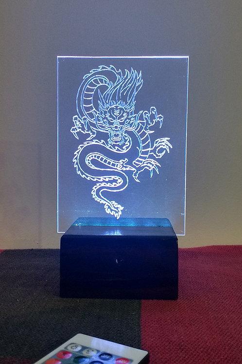 Dragão Chinês Luminária Artesanal Acrílico