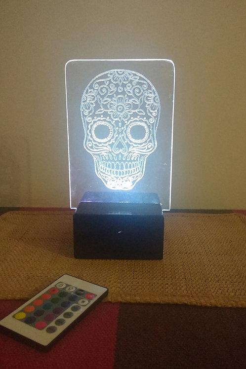Caveira Mexicana Luminária Artesanal Acrílico