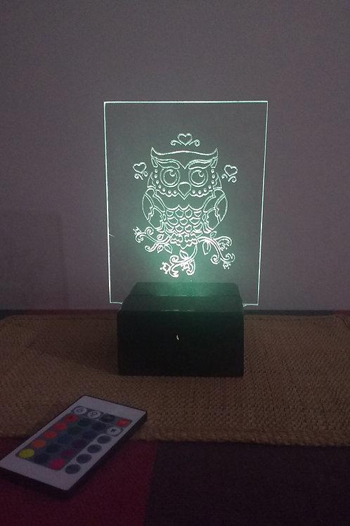 Coruja Luminária Artesanal Acrílico
