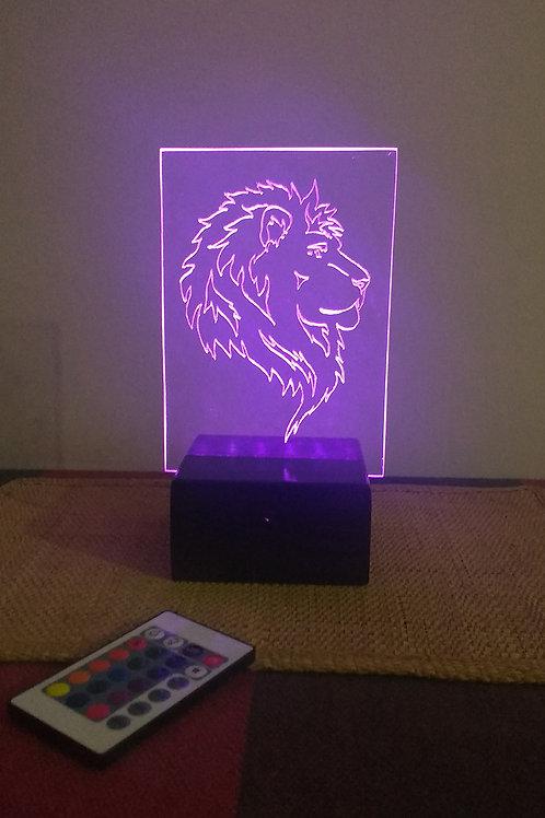 Leão Luminária Artesanal Acrílico