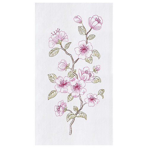 CHERRY BLOSSOMS EMBROIDERED FLOUR SACK TOWEL