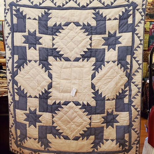 BLUE FEATHERED STAR HAND QUILTED THROW