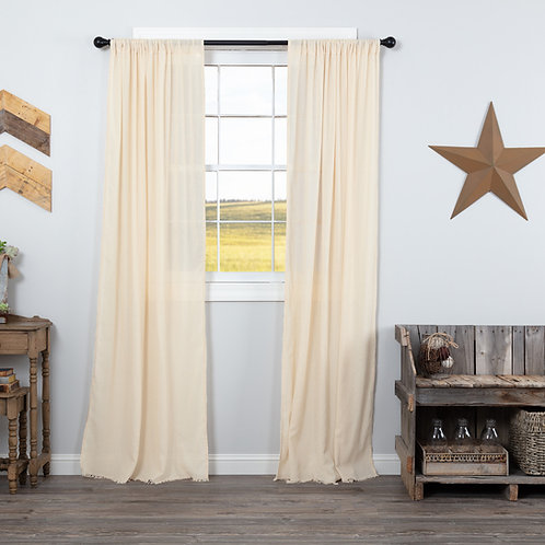 TOBACCO CLOTH NATURAL PANEL CURTAIN FRINGED SET OF 2 84X40
