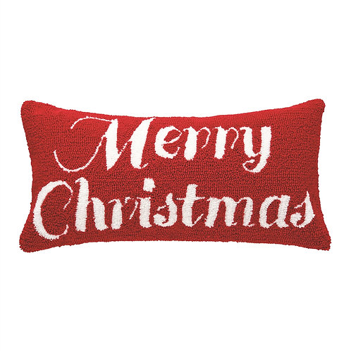 MERRY CHRISTMAS HOOKED PILLOW