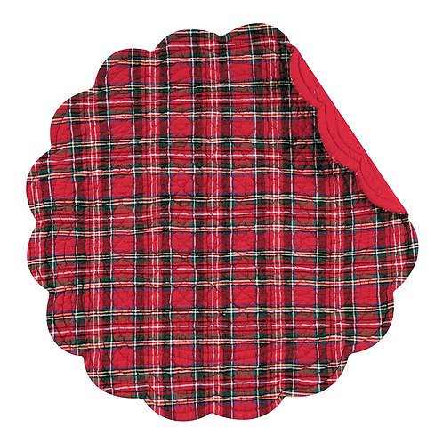 RED PLAID QUILTED PLACEMAT