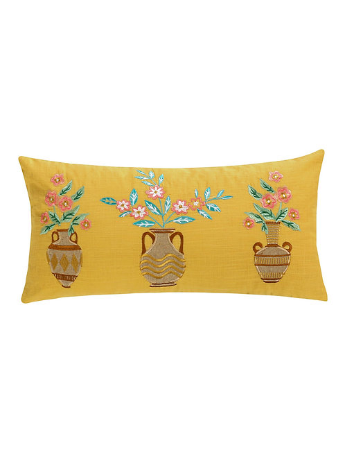 NAPALI EMBROIDERED PLANT TASSEL PILLOW
