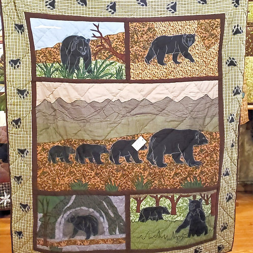 BEAR COUNTRY HAND QUILTED APPLIQUED THROW