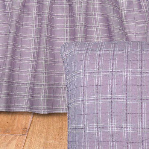LAVENDER PLAID GATHERED BEDSKIRT