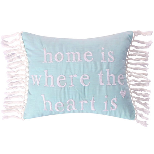 """JOSIE SPA """"HOME IS WHERE THE HEART IS"""" PILLOW"""