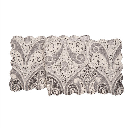 NAZIMA GRAY QUILTED TABLE RUNNER