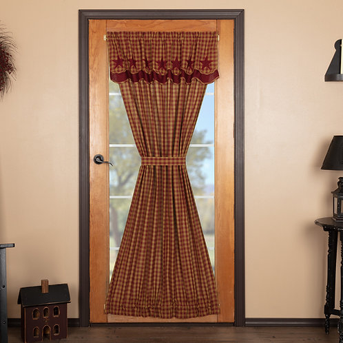 BURGUNDY STAR DOOR PANEL WITH ATTACHED SCALLOPED LAYERED VALANCE 72X40