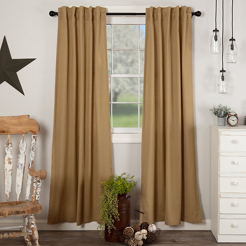 SIMPLE LIFE FLAX KHAKI PANEL CURTAIN SET OF 2 84X40