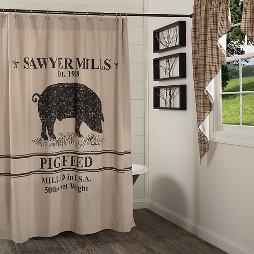 SAWYER MILLS CHARCOAL PIG SHOWER CURTAIN