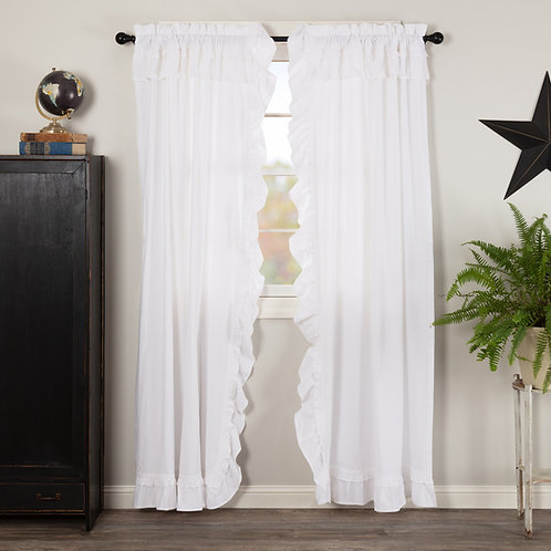 MUSLIN RUFFLED BLEACHED WHITE PANEL CURTAIN SET OF 2 84X40