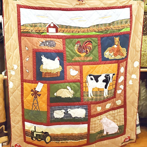 BARNYARD ANIMALS QUILTED THROW